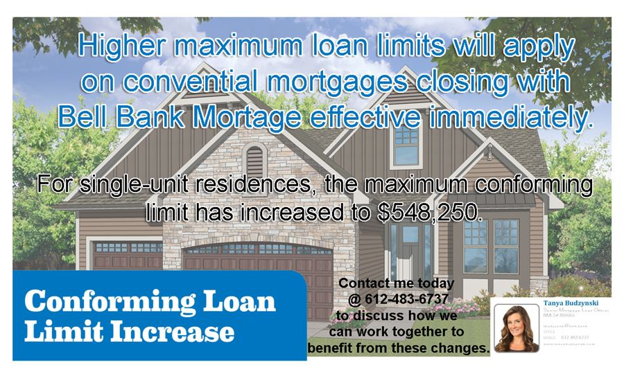 New higher loan limits on conventional mortgages closing with Bell Bank