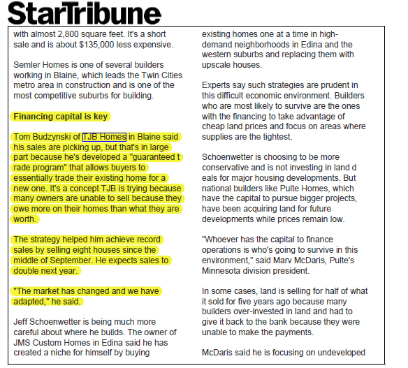 TJB Homes in StarTribune