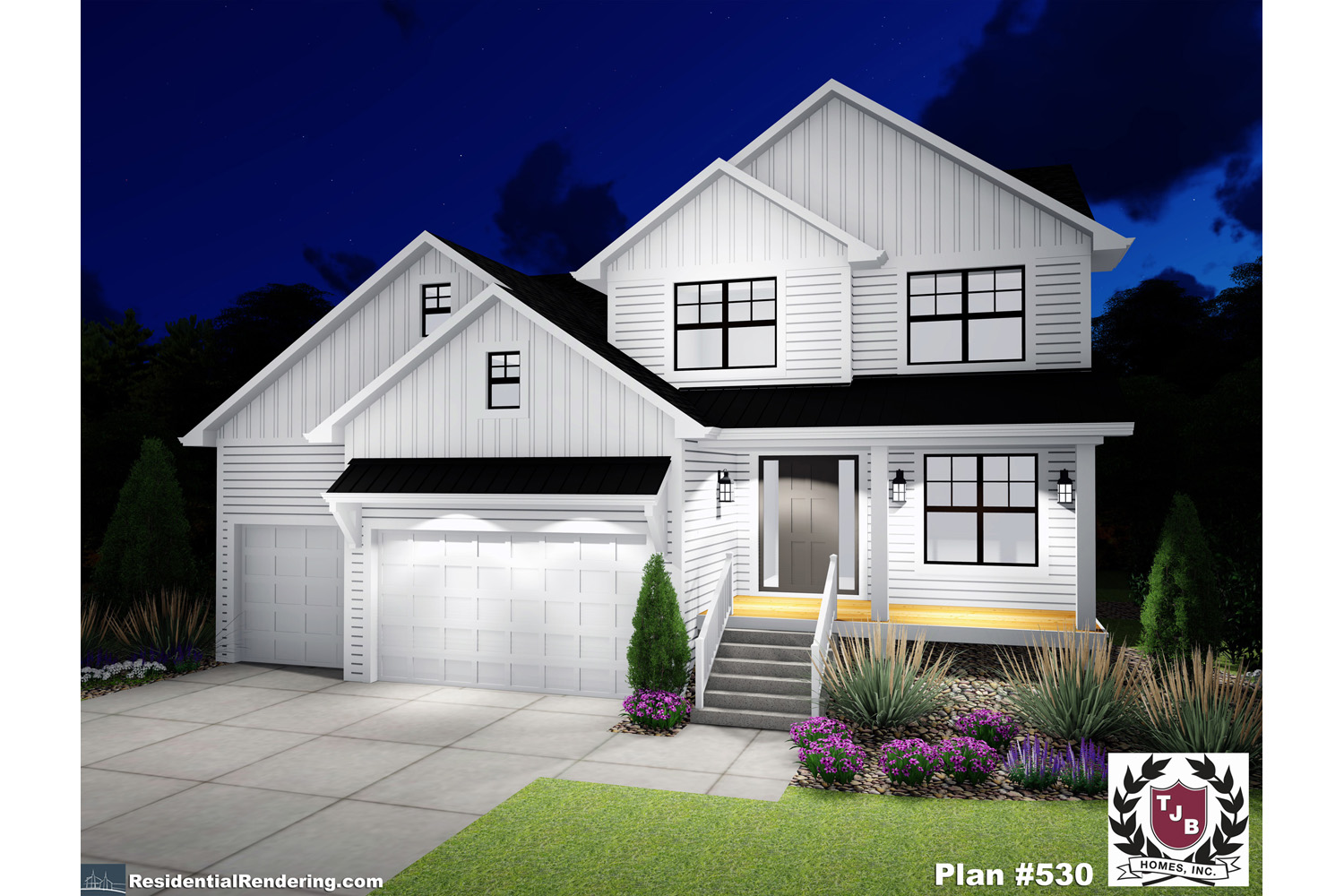 Home Plan Front Color Rendering Night View