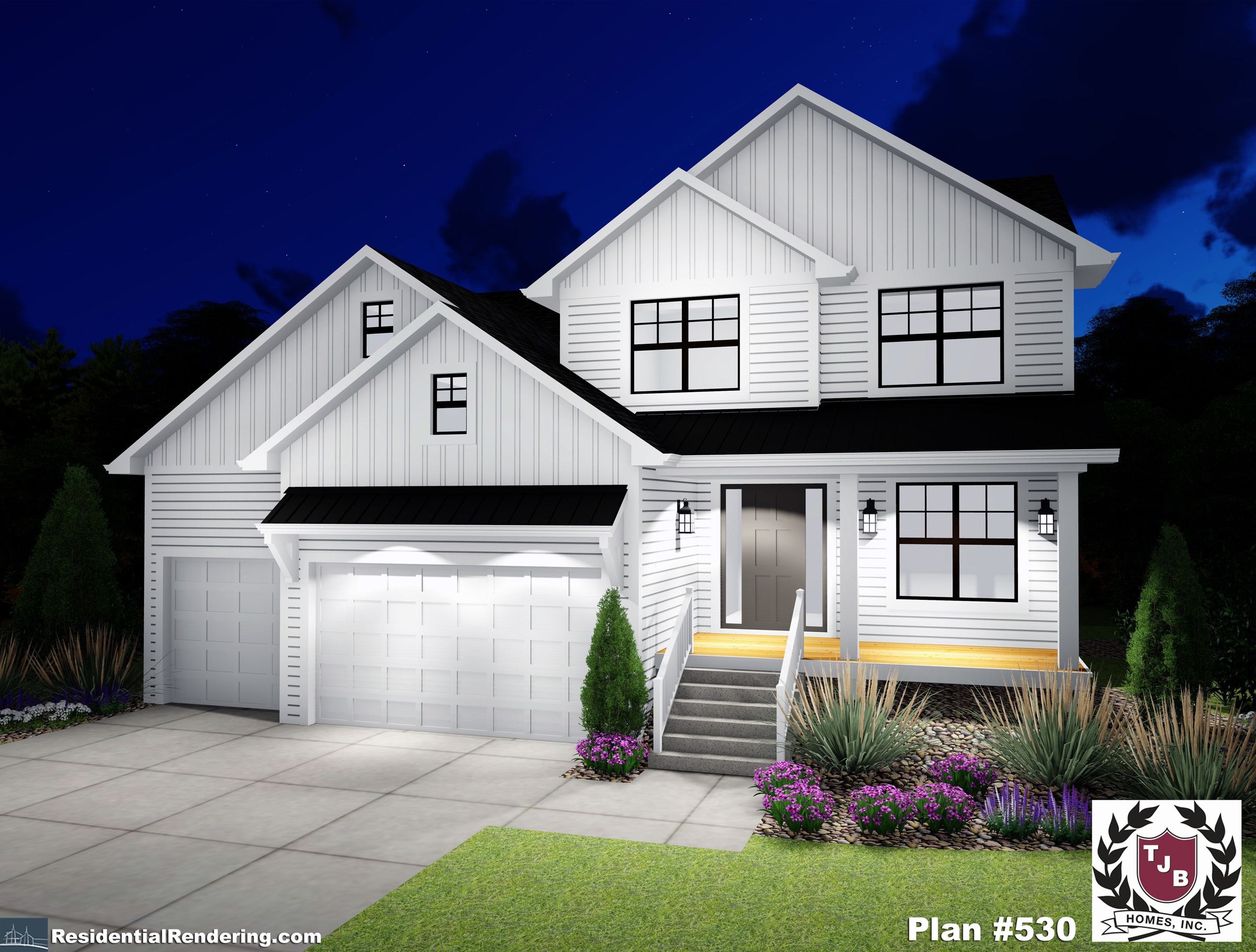 Home Front Plan Color Rendering Night View