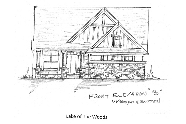 Home Plan Elevation Option B with Board & Batten