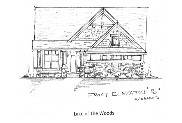 Home Plan Elevation Option B with Shakes
