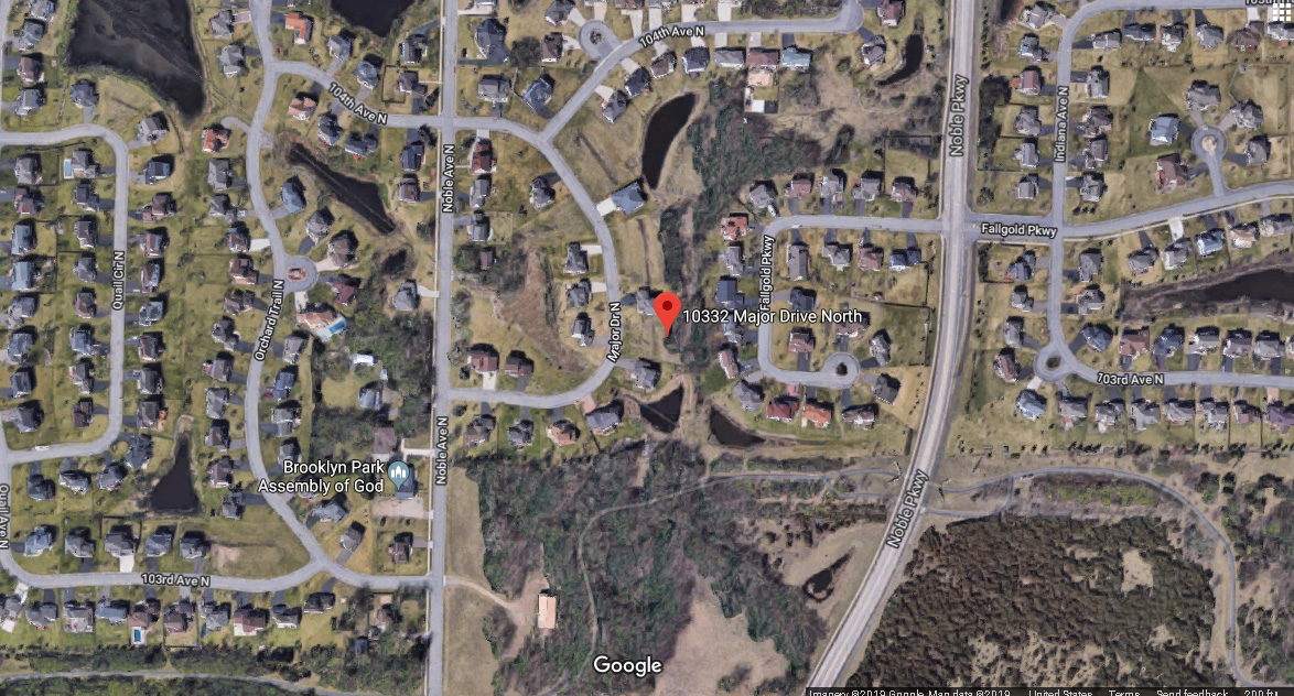 Map of 10332 Major Dr, Brooklyn Park, MN 55443