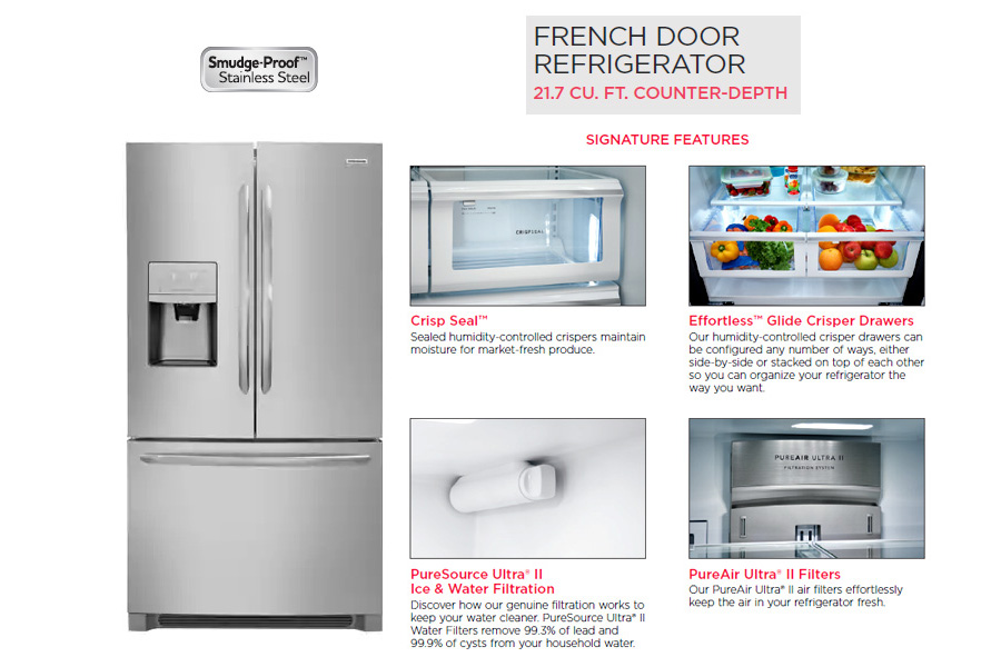 Stainless Steel French Door Refriderator