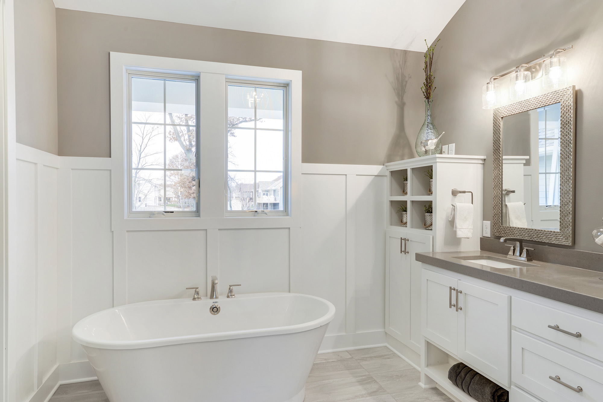 The master bath has a large tub