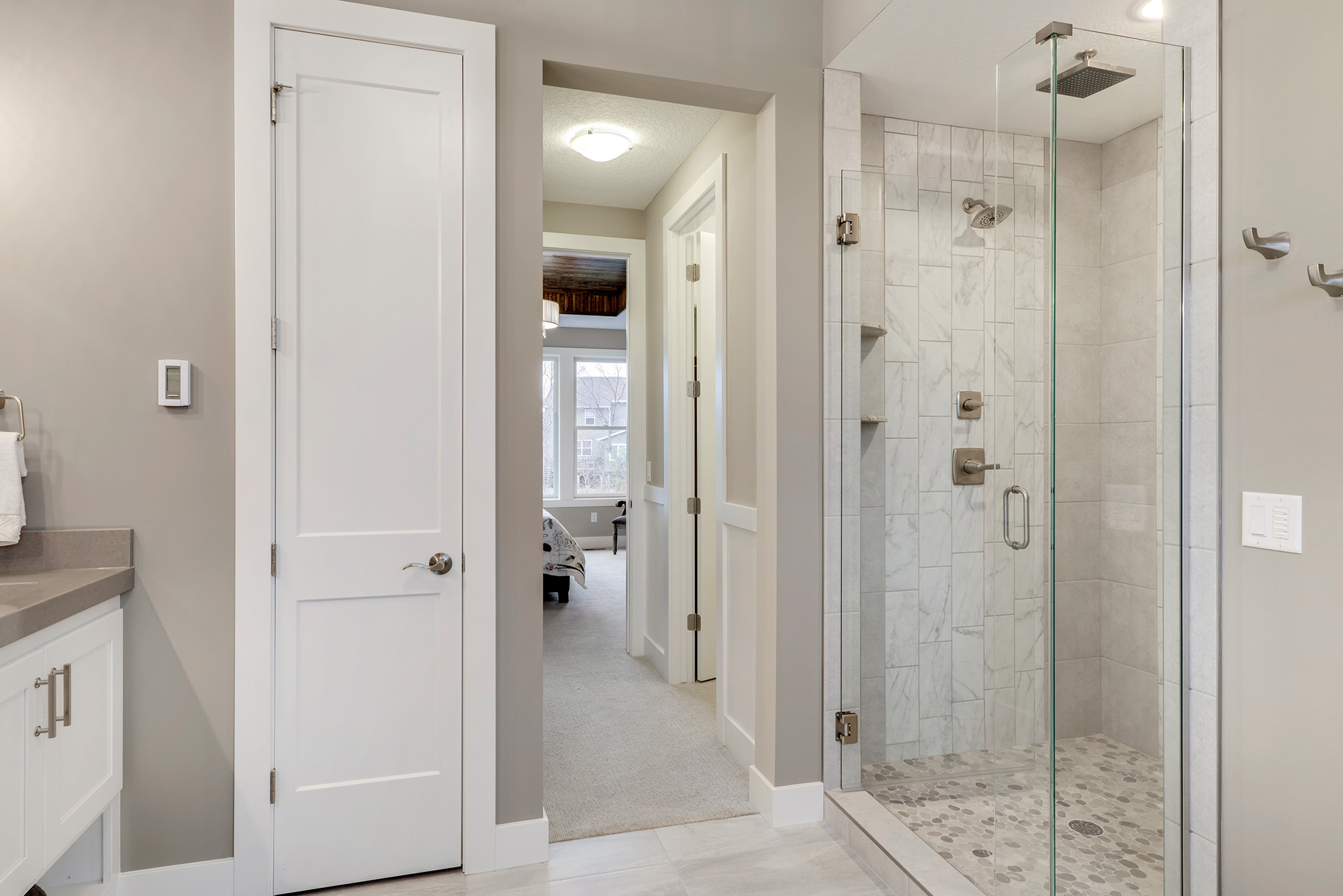 The master bath has a large Walk-in shower