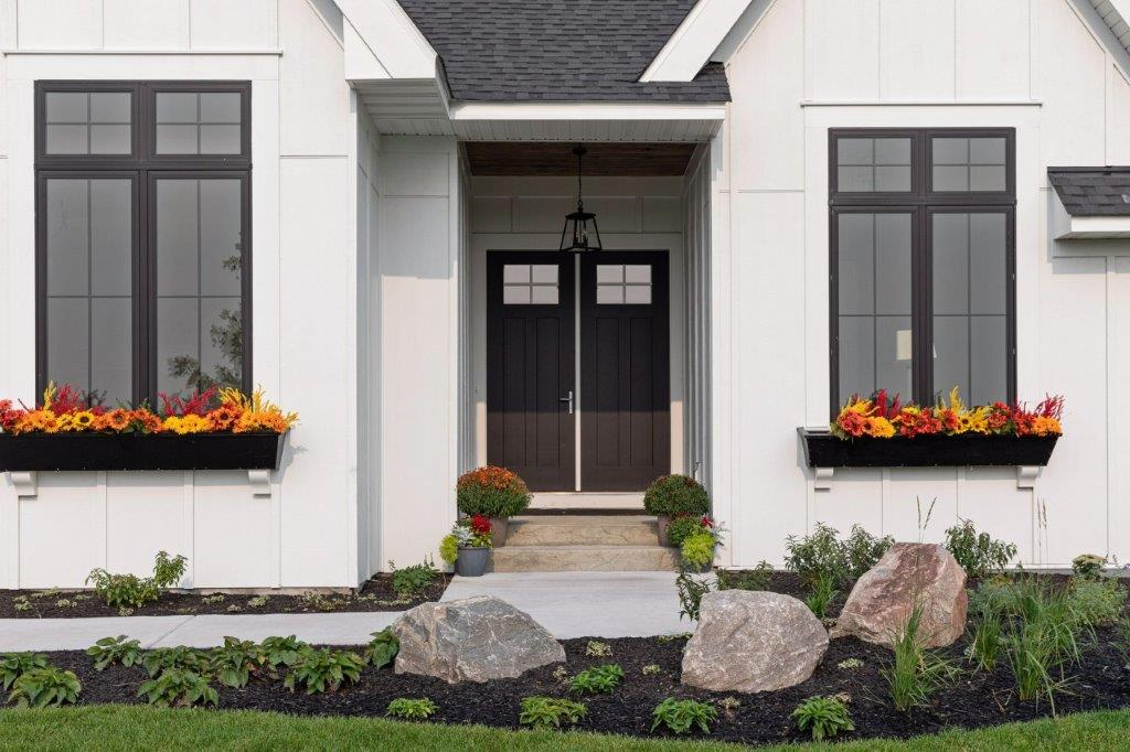 Window Sill Flower Boxes and Double Door Entry