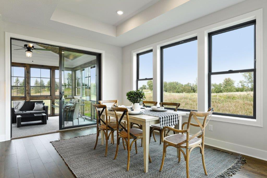 Dining space overlooking the golf course