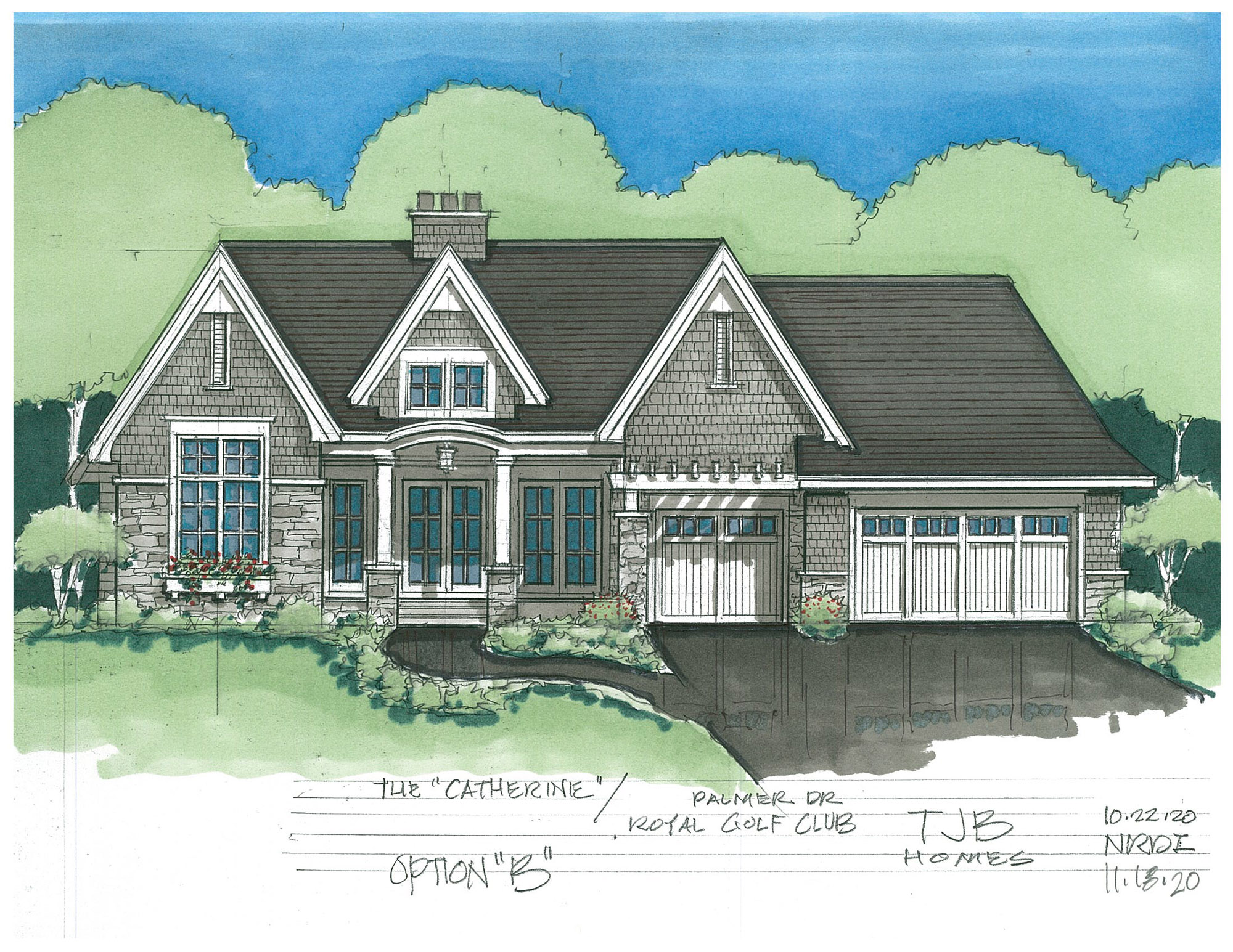 Catherine Home Plan Front Color Rendering