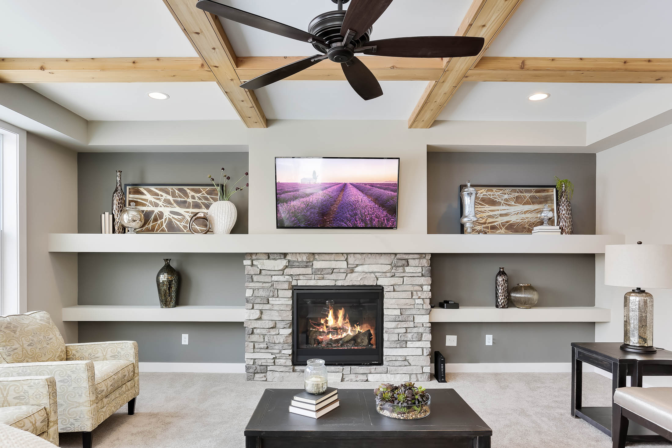 Media wall with fireplace and niches