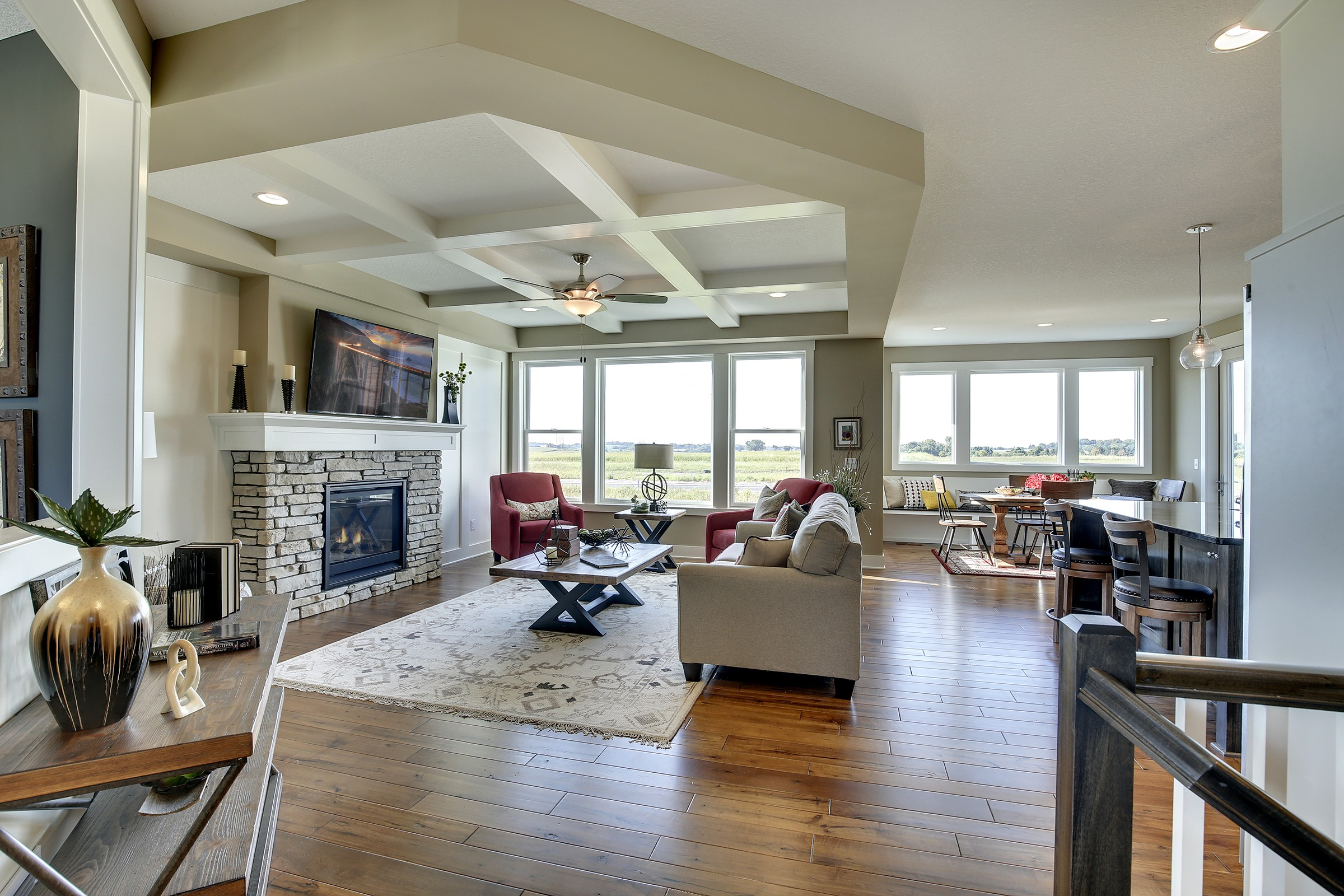 Hardwood Floors & Tiered Ceiling