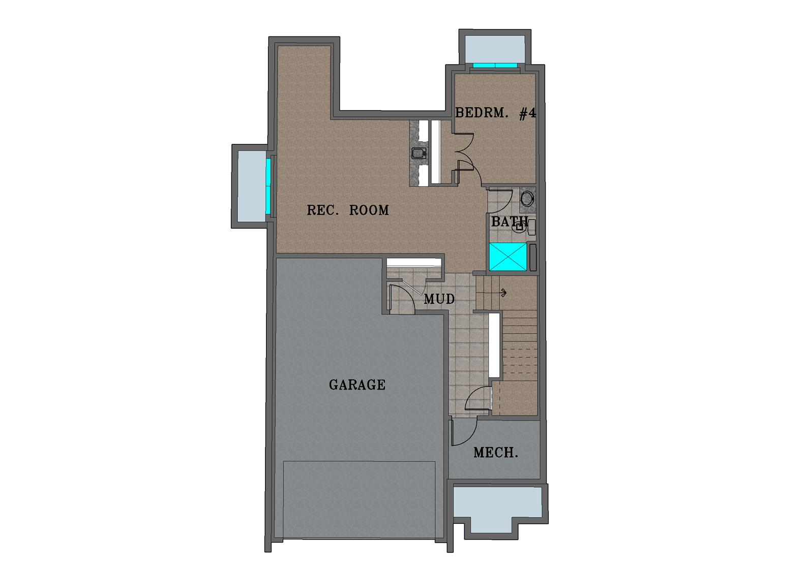 Basement Floor Plan Color Rendering