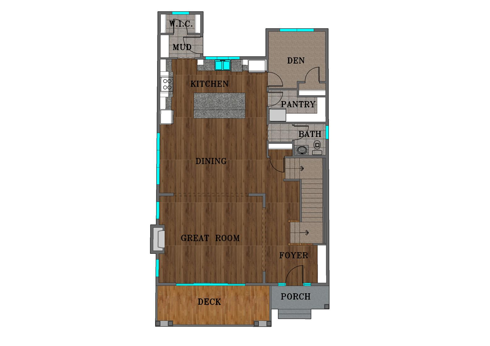 Main Floor Plan Color Rendering